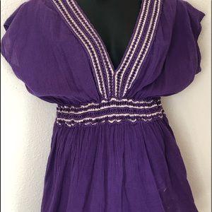 Tops - Purple Womens Stretchy Hi-waist Top L